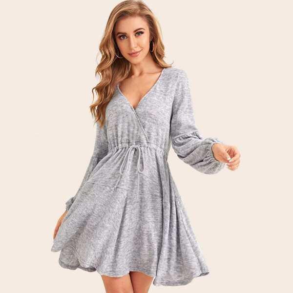 Surplice Drawstring Waist Sweater Dress