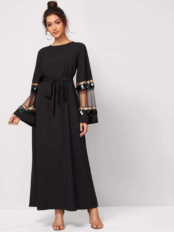 Mesh Insert Sequin Keyhole Back Belted Maxi Dress, Carol A
