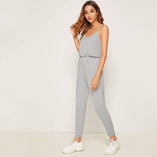 Solid Tapered Leg Slip Jumpsuit, Grey