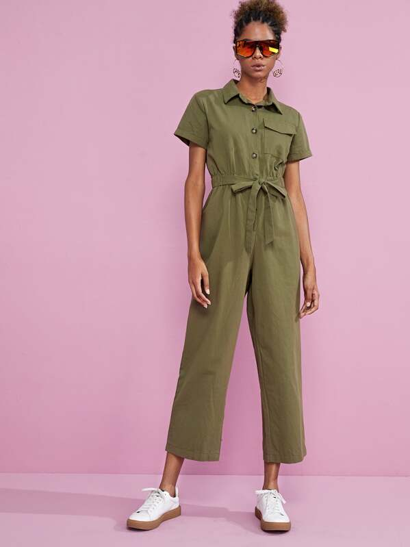 Solid Tie Front Utility Jumpsuit, Leticia
