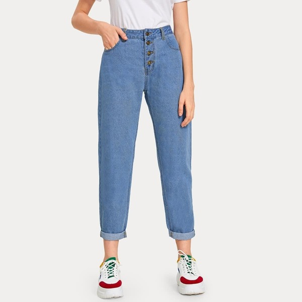 Solid Roll Hem Button Fly Mom Jeans