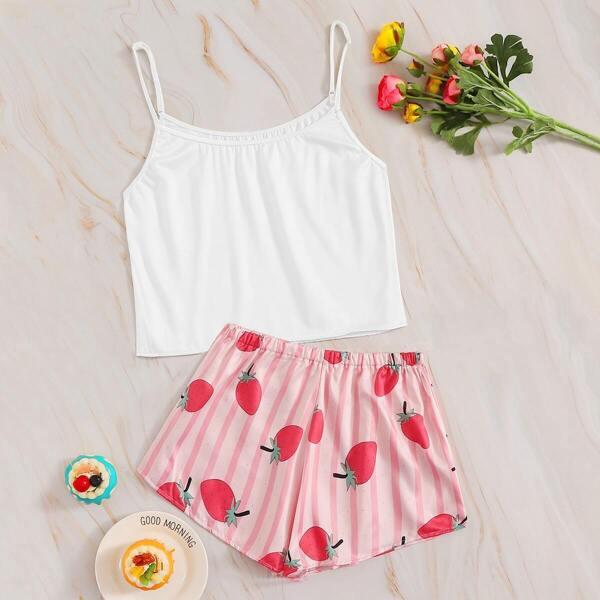 Strawberry Print Striped Cami PJ Set