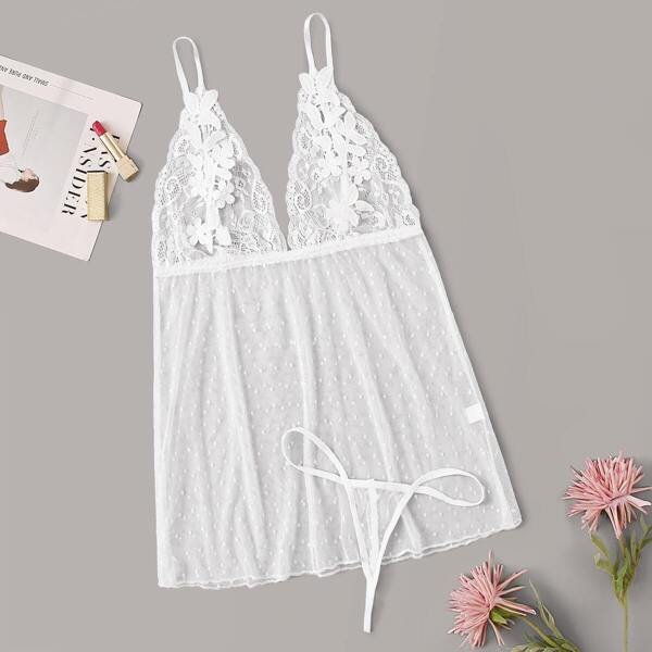 Floral Lace Sheer Cami Dress With Thong, White