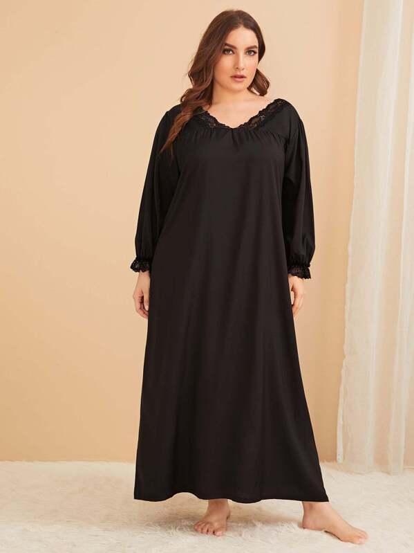 Plus Lace Trim Night Dress, Black, Franziska