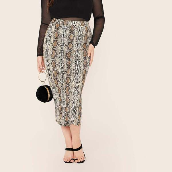 Plus Snakeskin Print Slit Hem Pencil Skirt