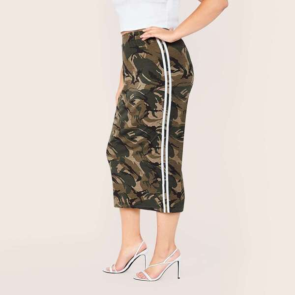 Plus Striped Side Camo Print Split Back Pencil Skirt