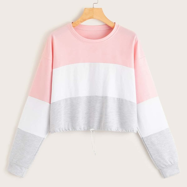 Color Block Falling Shoulder Sleeve Sweatshirt, Multicolor