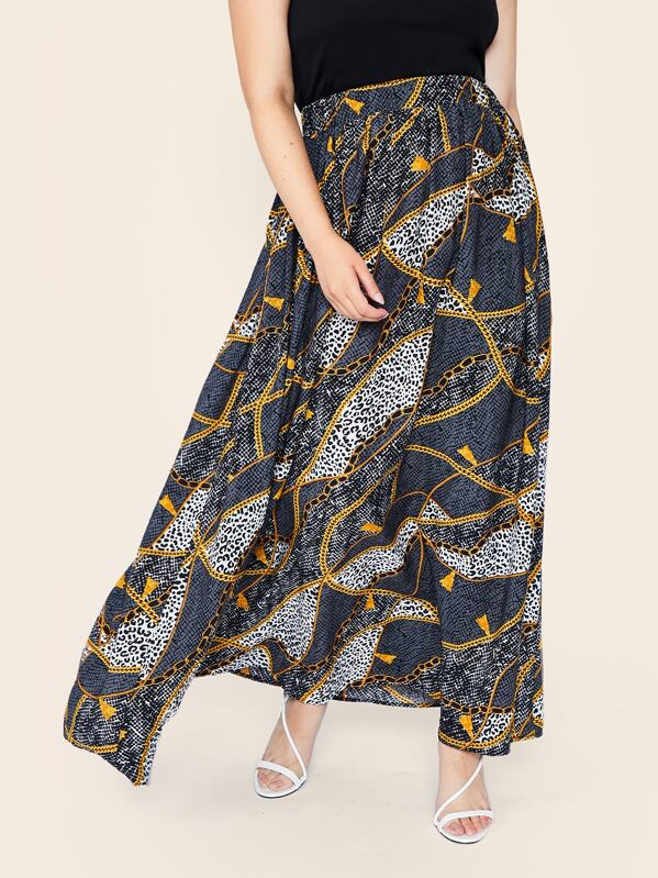 Plus Chain & Leopard Print Maxi Flare Skirt, Faith Bowman