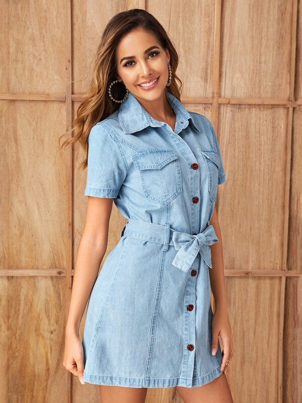 Button Front Flap Pocket Belted Shirt Denim Dress, Giulia