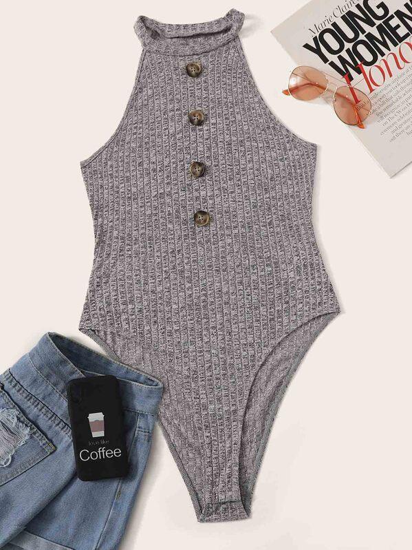 Button Front Textured Rib-knit Halter Bodysuit