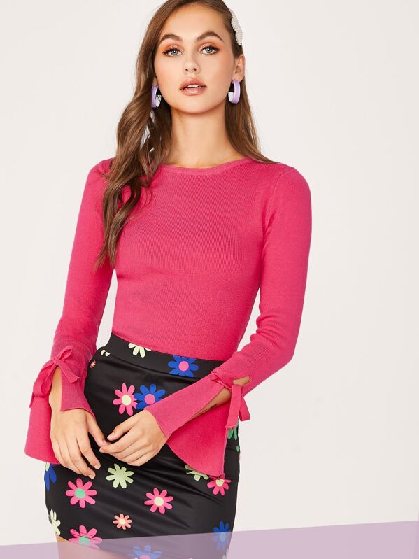Solid Flounce Knotted Sleeve Rib-knit Knit Top, Pink, Lily Easton