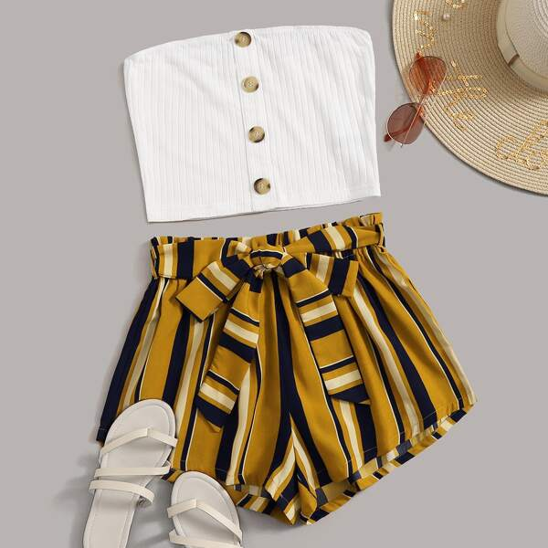 Buttoned Rib-knit Tube Top & Paperbag Waist Belted Shorts Set