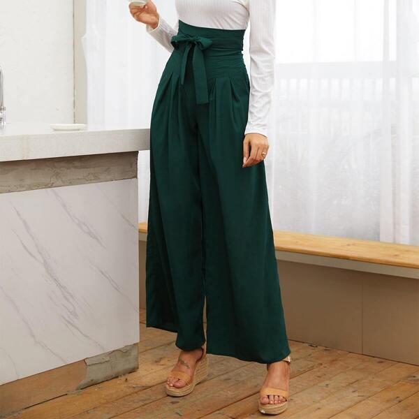 Belted High Waist Wide Leg Pants, Green