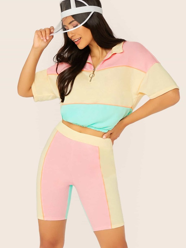 O-ring Zip Front Colorblock Sweatshirt and Cycling Shorts Set, Multicolor, Izzy Marshall