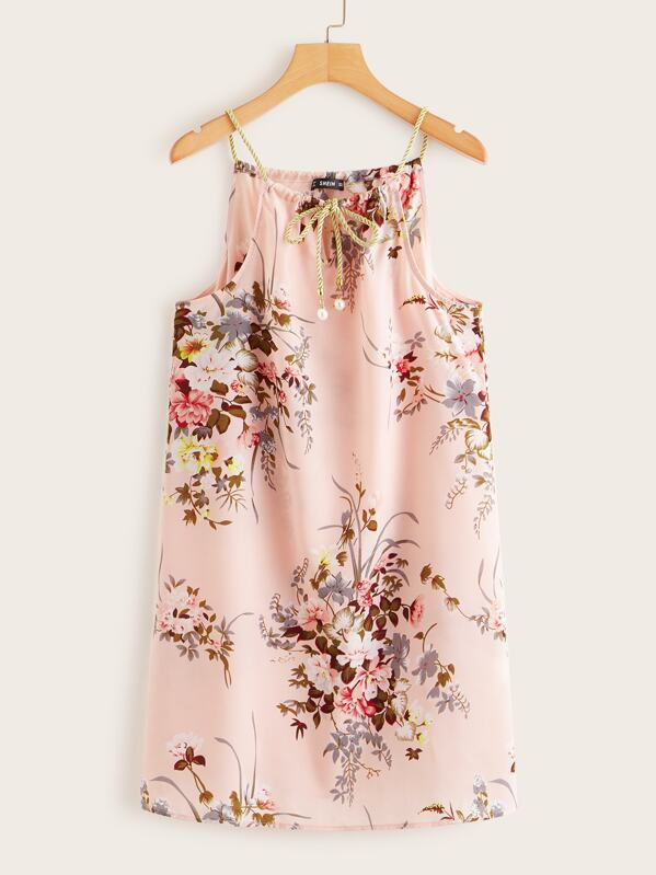 Pearls Tie Neck Floral Print Dress, Pink