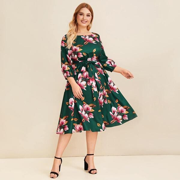Plus Self Belted Floral Print Dress