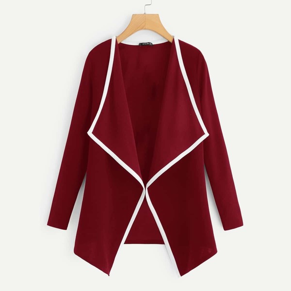Contrast Binding Drape Collar Coat, Burgundy