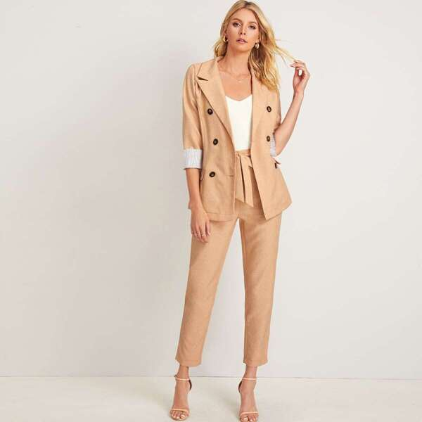 Double Breasted Notched Neck Blazer With Pants