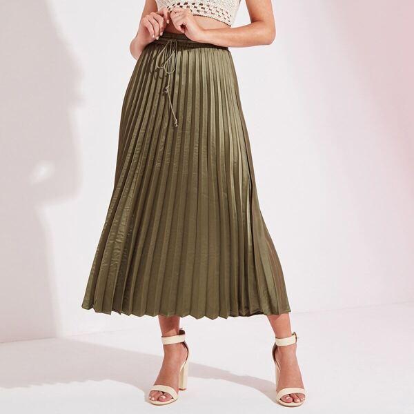 Satin Pleated Longline Skirt
