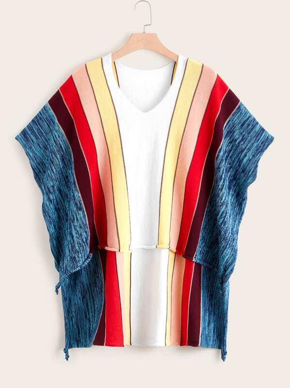 Plus Block Stripe Batwing Sleeve Sweater, Multicolor