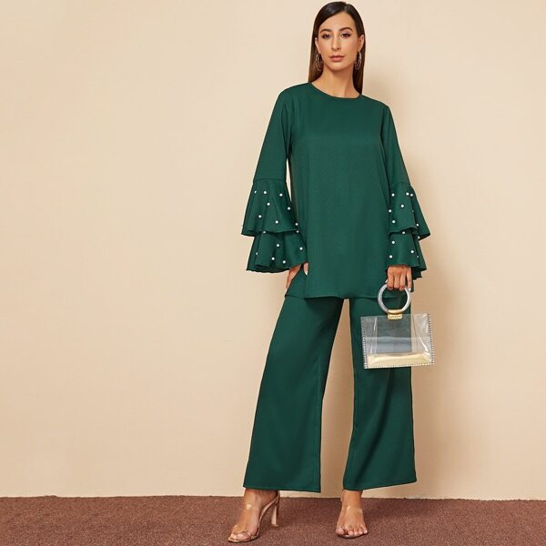 Pearl Beaded Layered Bell Sleeve Top and Wide Leg Pants Set