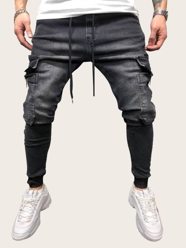 Men Pocket Side Drawstring Waist Jeans
