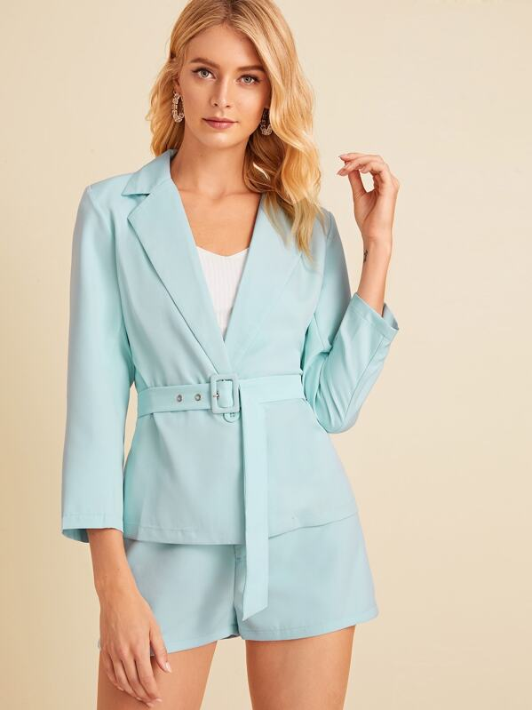 One Button Self Tie Blazer With Tailored Shorts, Blue, Layson