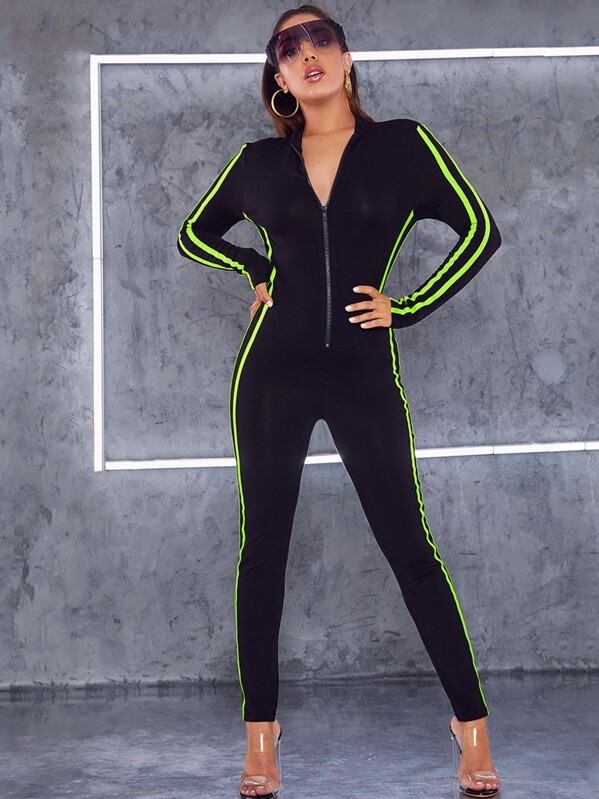 Neon Lime Side Striped Zip Up Fitted Jumpsuit, Lucia