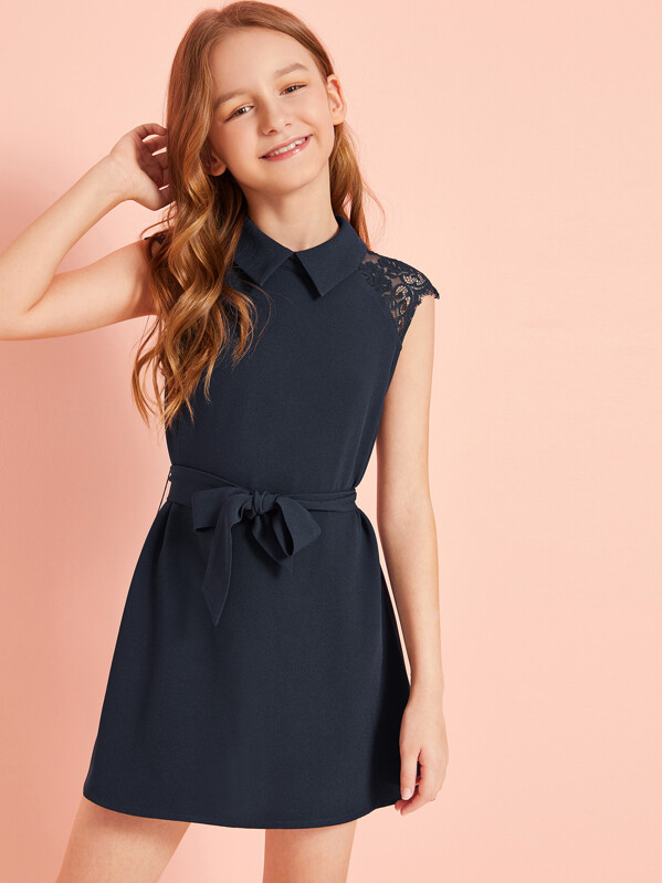 Solid Lace Insert Keyhole Back Belted Dress, Sashab
