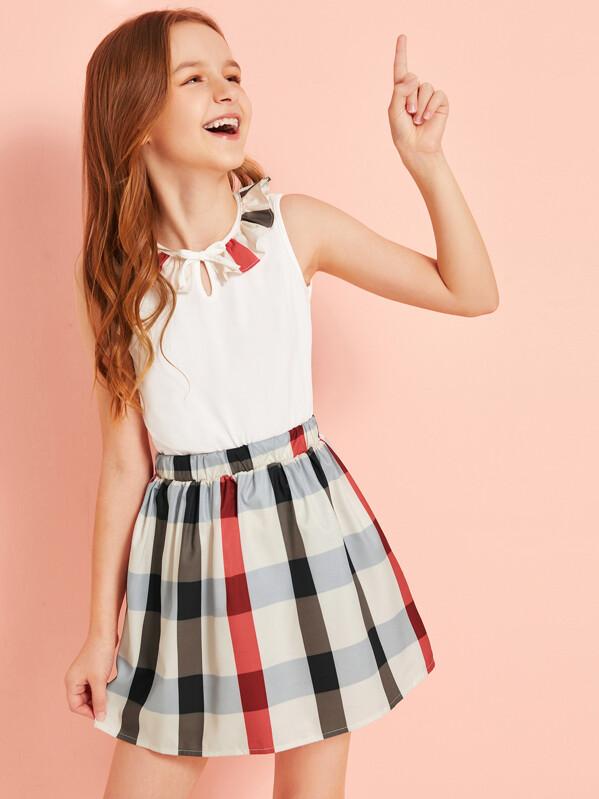 Girls Keyhole Neck Contrast Ruffle Trim Top & Plaid Skirt Set, Sashab