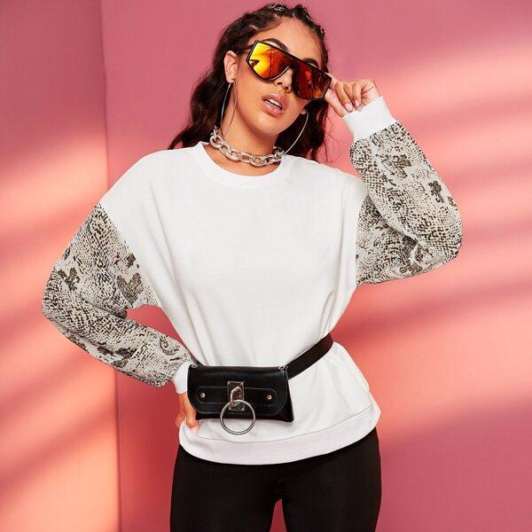 Snakeskin Print Sleeve Sweatshirt Without bag, White