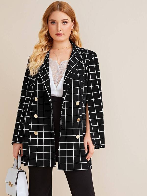 Plus Notched Collar Double Breasted Split Sleeve Grid Blazer, Nora