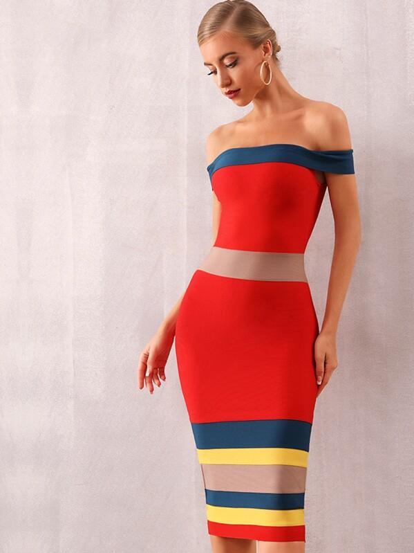Adyce Color-block Off Shoulder Bandage Dress