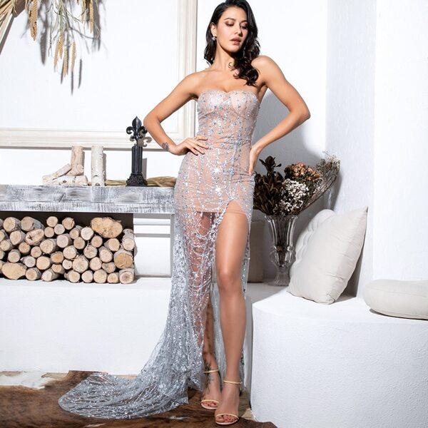 LOVE&LEMONADE Split Thigh Sequin Mesh Maxi Tube Dress, Grey