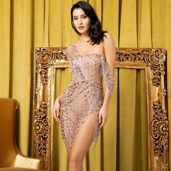 LOVE&LEMONADE Split Thigh Bodysuit Insert Sequin Detail Mesh Dress, Nude