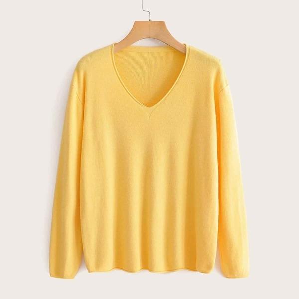 Drop Shoulder V-neck Sweater