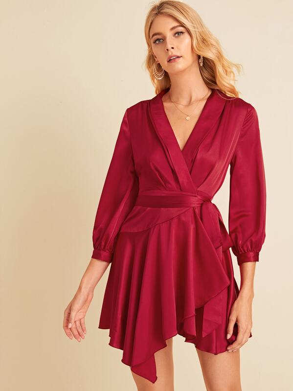 Shawl Collar Asymmetrical Ruffle Hem Belted Satin Dress, Layson
