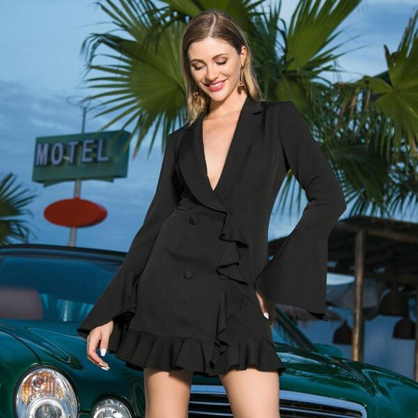 Double Crazy Double Button Ruffle Hem Flounce Sleeve Blazer Dress, Black