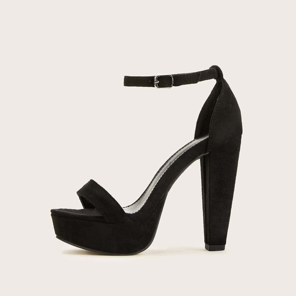 Two Part Suede Chunky Heels, Black