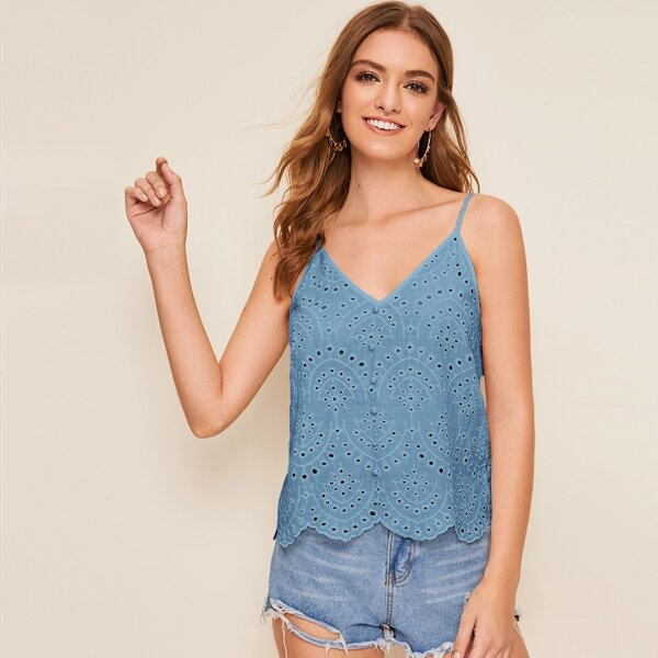 Buttoned Front Scallop Hem Eyelet Embroidery Cami Top