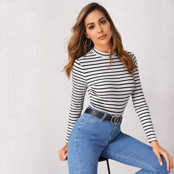 Mock-neck Rib-knit Fitted Striped Tee