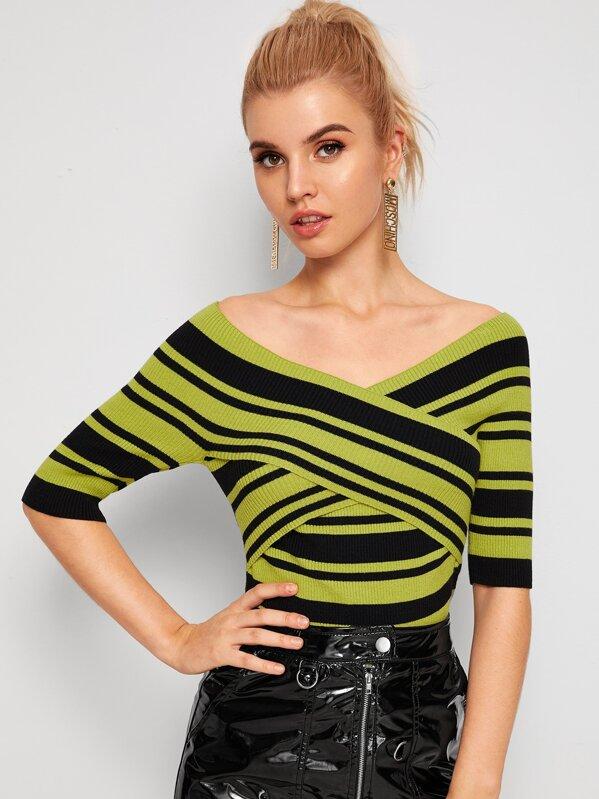 Crisscross Front Striped Knit Top, Tasha