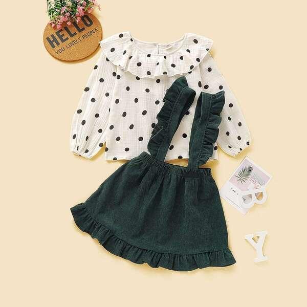 Toddler Girls Polka Dot Blouse & Ruffle Trim Pinafore Skirt
