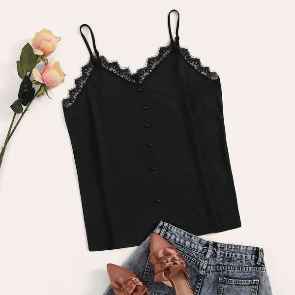 Plus Lace Panel Beaded Front Cami Top