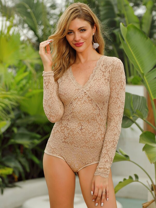 Double Crazy Scallop Trim Sheer Lace Bodysuit Without Panty