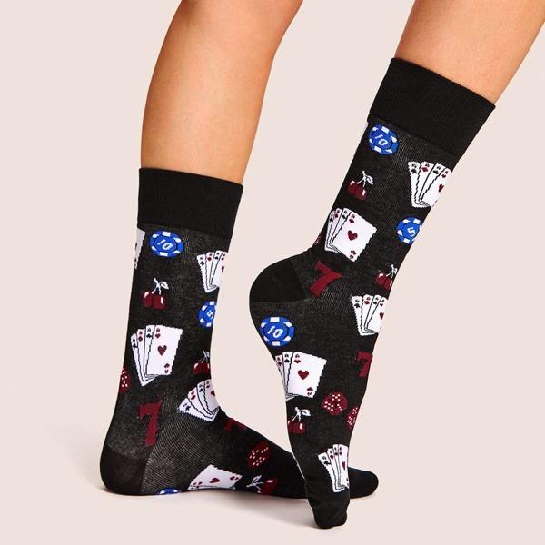 Poker Pattern Socks 1pair, Black
