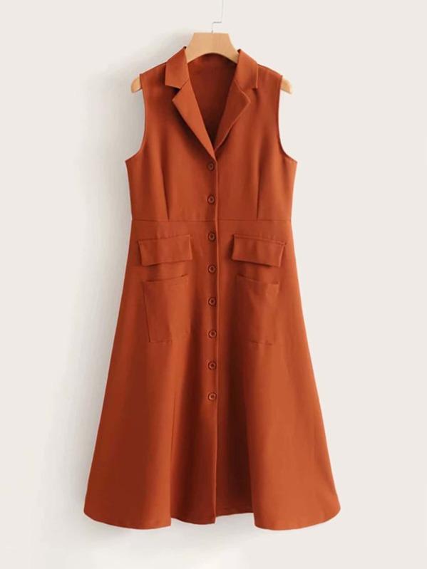 Dual Pocket Button Front Blazer Dress