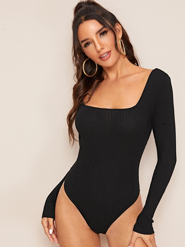 Solid Rib-knit Form Fitted Bodysuit, Juliana
