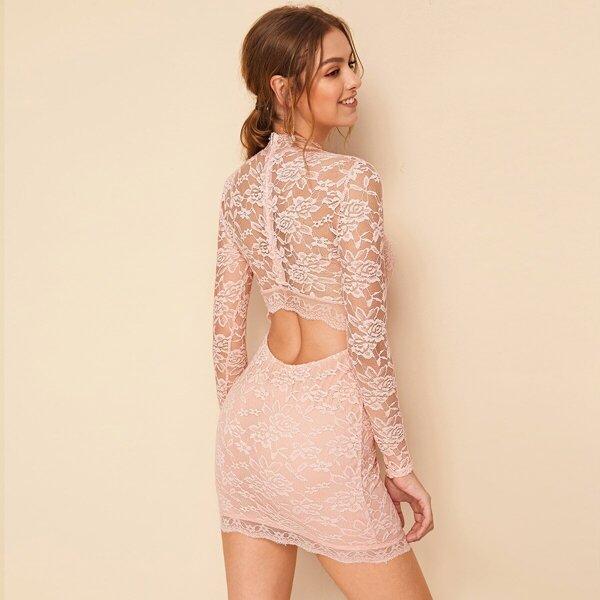 Cutout Back Lace Overlay Bodycon Dress