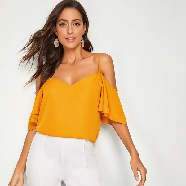Cold Shoulder Flutter Sleeve Top, Yellow bright